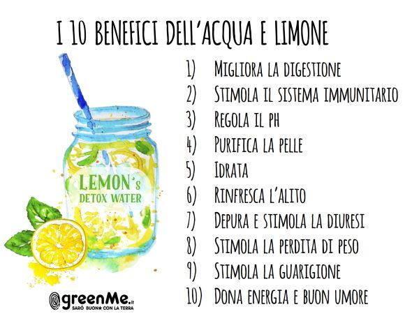 10 benefici acqua limone