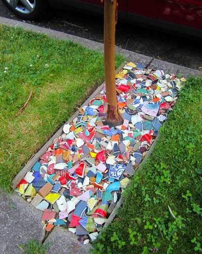 bicchieri rotti ceramica 2 giardino