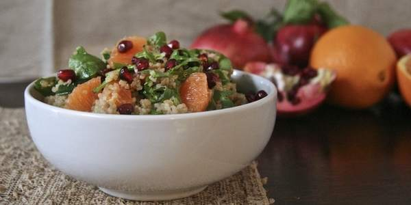 insalata di quinoa araqnce e melograno
