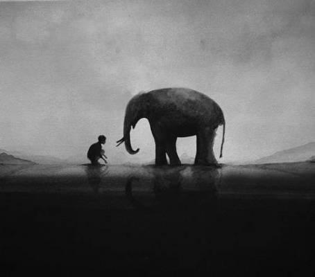b2ap3_thumbnail_Elicia-Edijanto-dipinti-acquerelli-bianco-nero-rapporto-bambini-animali-natura-00.jpg