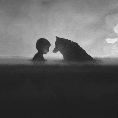 b2ap3_thumbnail_Elicia-Edijanto-dipinti-acquerelli-bianco-nero-rapporto-bambini-animali-natura-04.jpg
