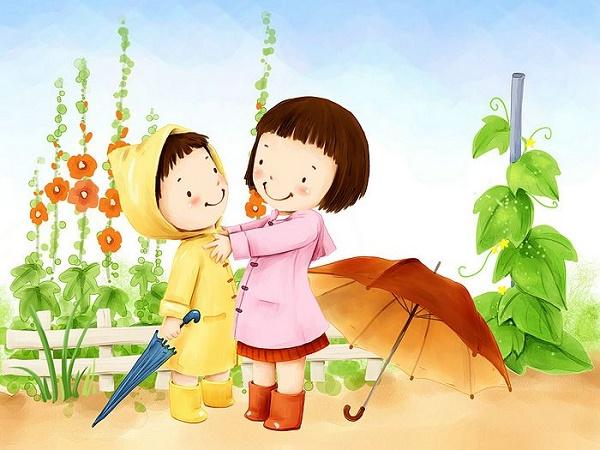 bambini pioggia
