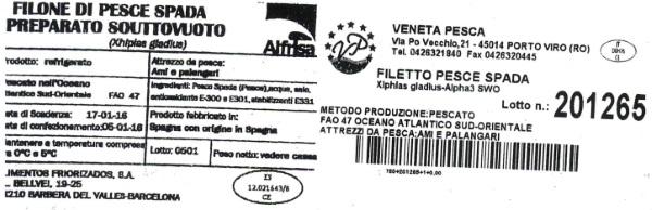 etichetta pescespada ritirato