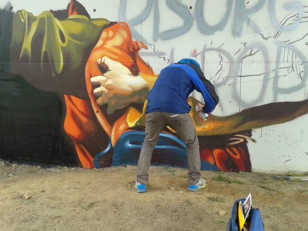 murales andrea ravo mattoni caravaggio4