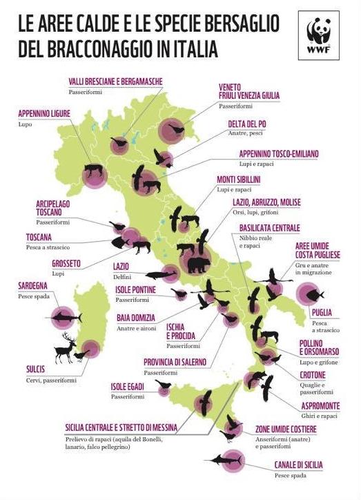 mappa bracconaggio italia