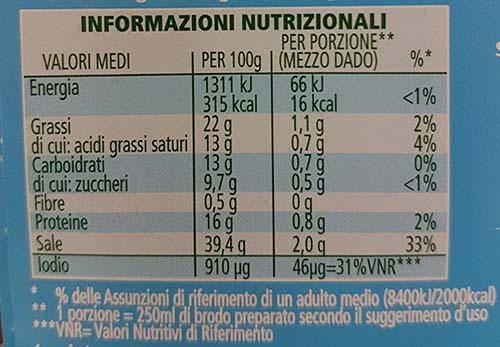 star tabella nutrizionale