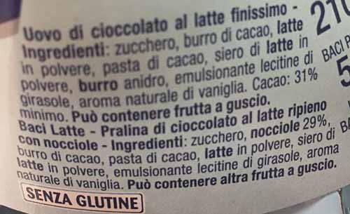 baci latte ingredienti