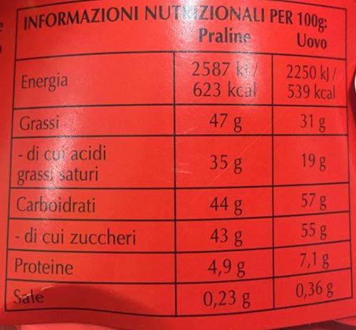 lindor informazioni nutrizionali