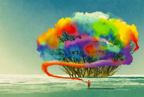 uomo e albero colori arcobaleno