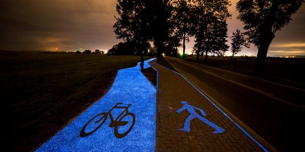 pista ciclabile luminosa polonia