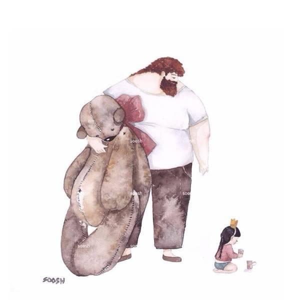 illustrazioni papa bambine9