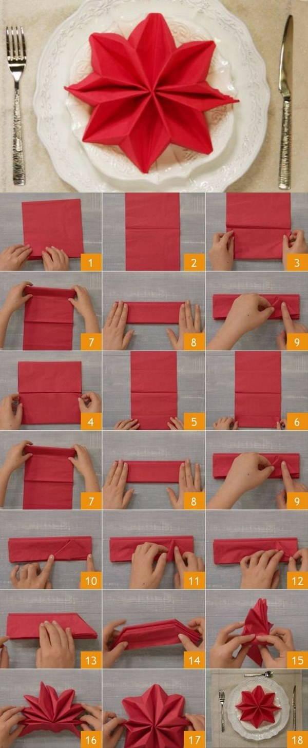 Tovaglioli Stella Di Natale.10 Straordinarie Ma Facili Idee Per Piegare I Tovaglioli A Natale