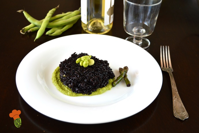riso venere con crema di asparagi e fave cover