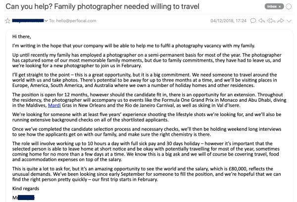 email famiglia fotografo