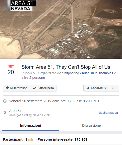 Evento Facebook Area 51