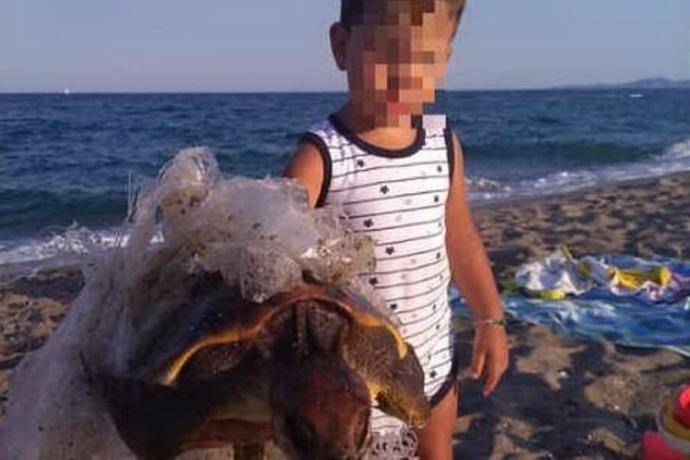 Bambino salva una tartaruga