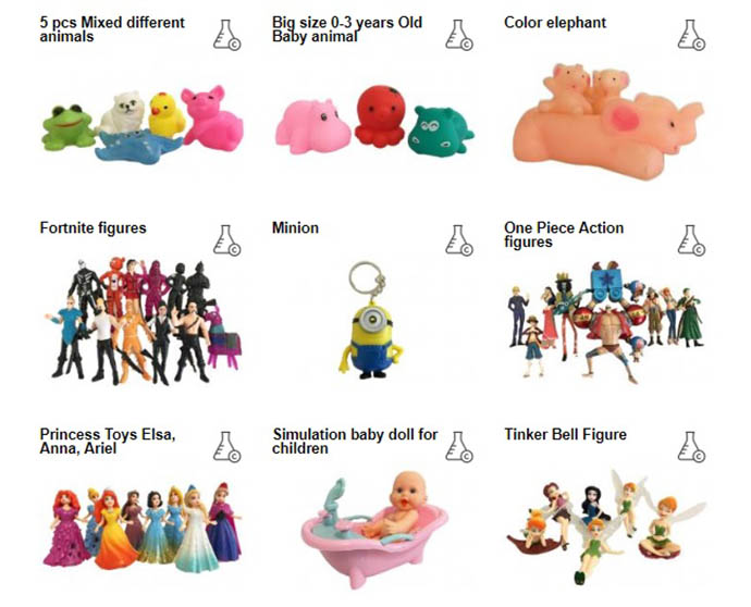 1 giocattolo su 3 venduto da Amazon, Ebay e Wish contiene