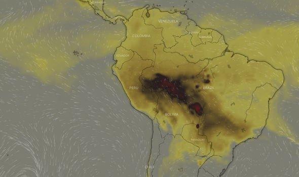Mappa monossido di carbonio amazzonia