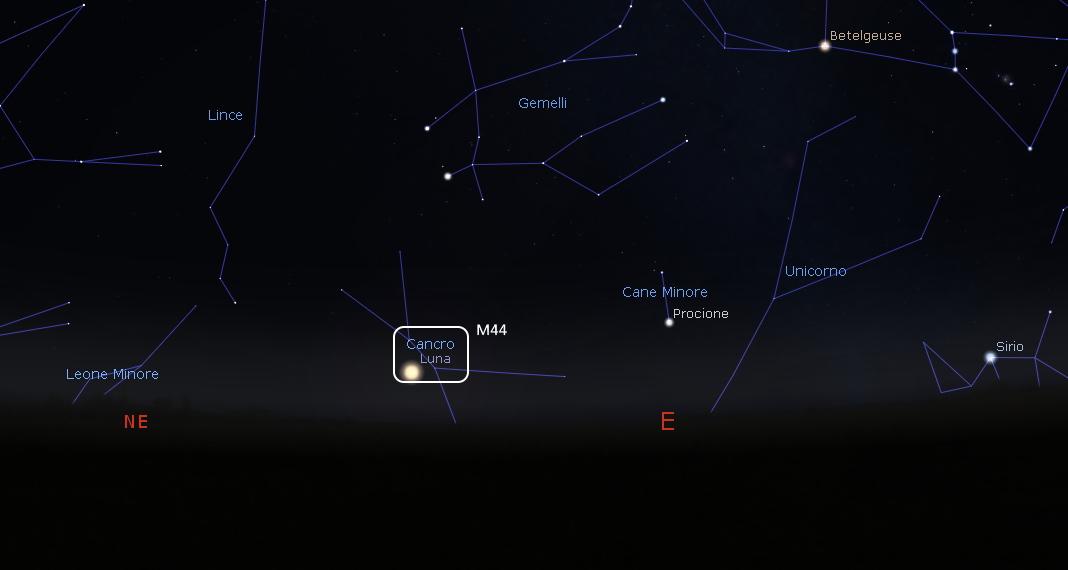 luna congiunzione M44 25 settembre 2019