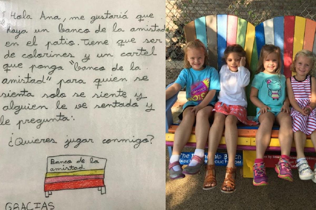 Bambina propone panchina dell'amicizia alla scuola