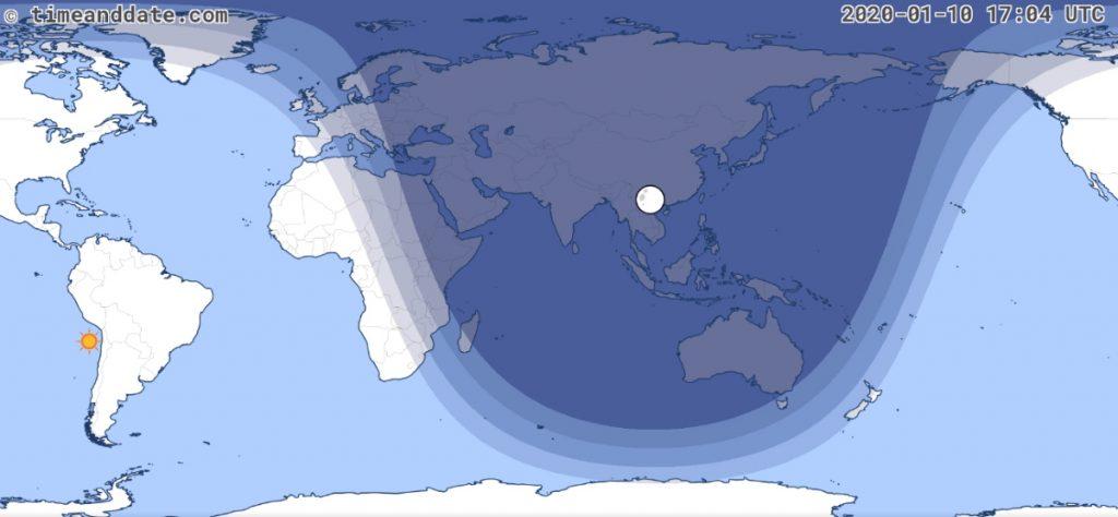 eclisse pepmbrale luna 10 gennaio 2020