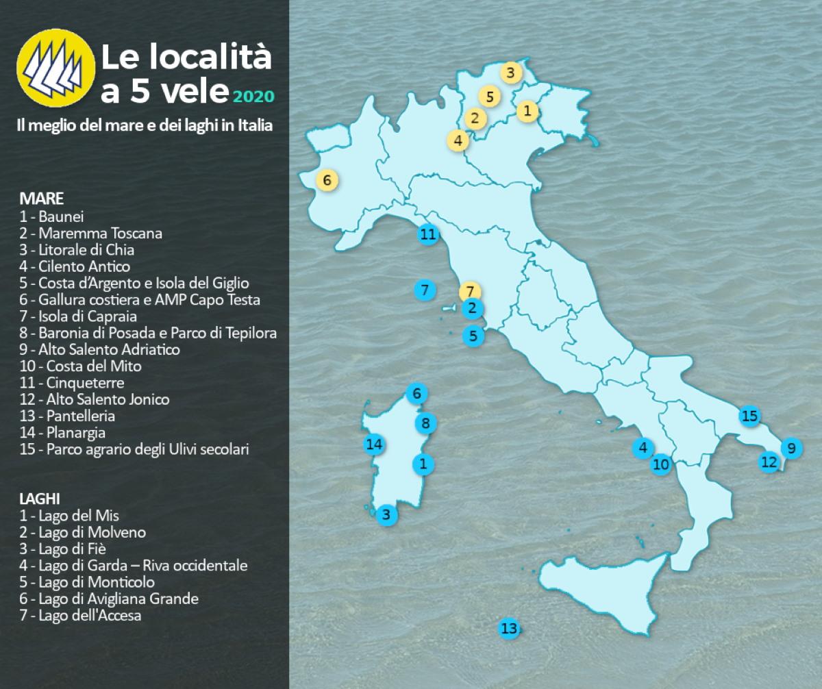 Cartina Spiagge Veneto.Il Mare Piu Pulito E Le Spiagge Piu Belle D Italia Tutte Le Localita A 5 Vele 2020 Anche Lacustri Greenme