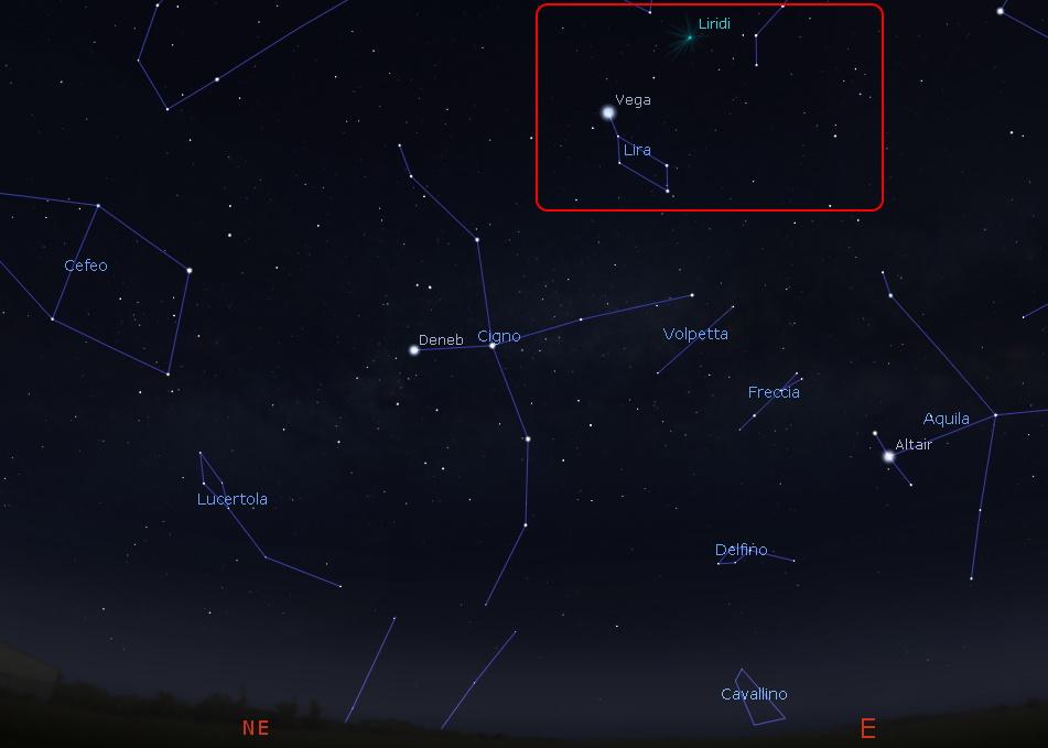 liridi mappa cielo notte 22 aprile