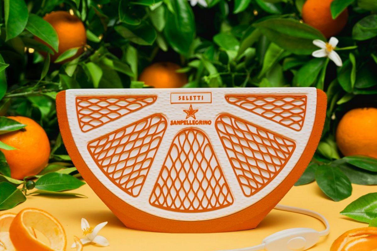 lampada sanpellegrino con bucce di arancia