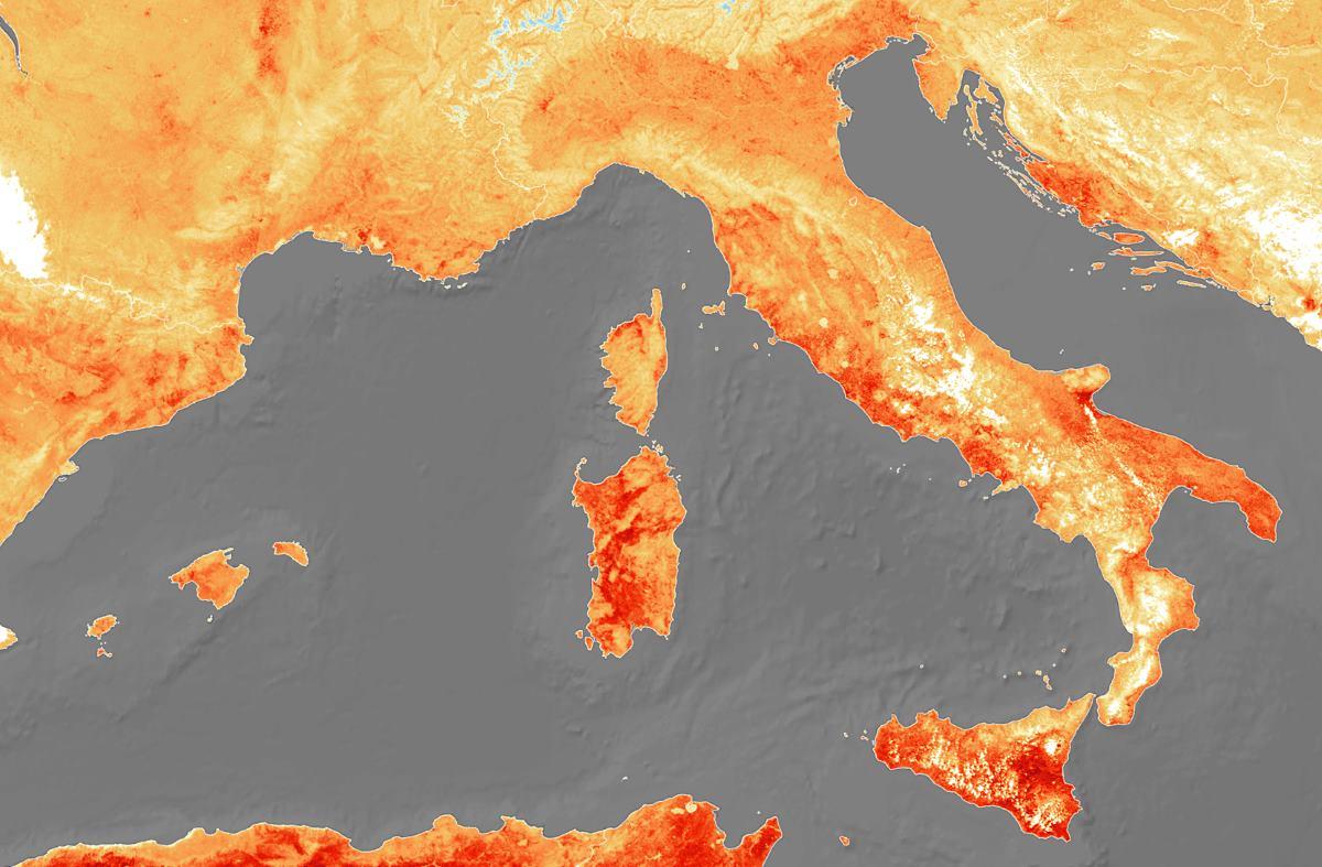 italia caldo mappa